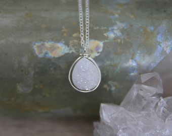 Silver Druzy Necklace / White Druzy Necklace