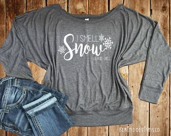 I Smell Snow Gilmore Girls Long Sleeve Flowy Tee-Gilmore Girls-Lorelai Rory Gilmore-Stars Hollow-I'd Rather Be Watching Gilmore Girls