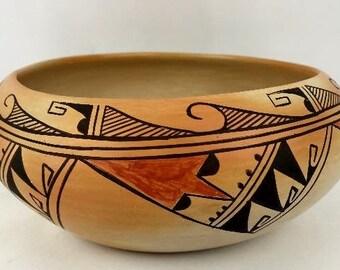 Native American vintage Hopi Poly Chrome Pottery Bowl by Mae Mutz, Ca. 1940's, #1297
