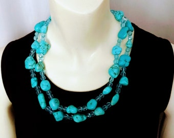 Real Turquoise Necklace/Turquoise Nuggets Necklace/Long Turquoise Stone Necklace/Chunky Blue Stone Necklace/Long Wrap Turquoise Necklace/436