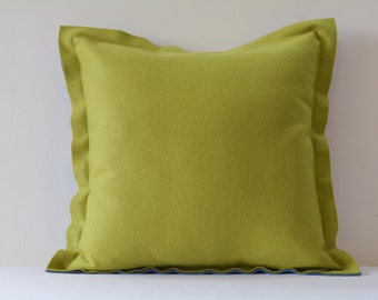 Chartreuse Green and Grey Reversible Felt Cushion Cover, Decorative Pillow, Two Colour Reversible Felt Cushion Cover with Flange