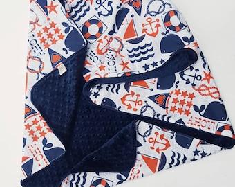 Personalized Nautical Minky Baby Blanket- Navy and Orange Nautical Blanket, Personalized Baby Blanket, Nautical Nursery, Crib Blanket