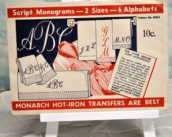 Vintage Hot Iron Transfers - Script Monograms 2 Sizes, 6 Alphabets-Uncut-Never Used Vintage Embroidery Transfers