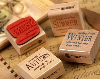 Season Style Rubber Stamp Set - Korean Stamp - Wood Stamp - Filofax - Diary - Deco Stamp