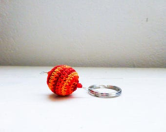 Crochet keychain, orange keychain, red keychain, beaded keychain, handmade, cute keychain, wooden beads, gift idea, ready to ship