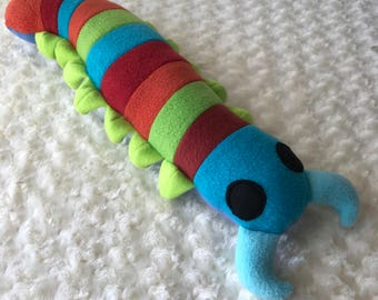 Striped Centipede Plush, Centipede Toy, Plush Bug, Plush Insect, Centipede Stuffie, Polka Dot Centipede