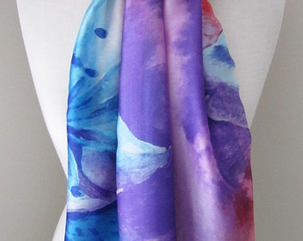 Watercolor Print Long Silk Summer Scarf with blue cherry blossom flower  - Silk Infinity scarf for spring and fall, lightweight scarf