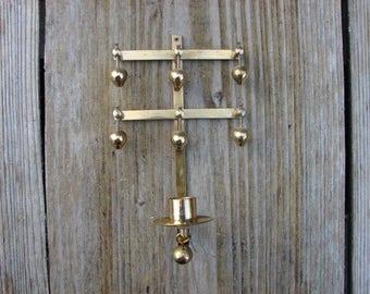 Vintage Handmade Solid Brass Hammered Candleholder by MORA-Sweden