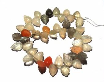 "1/2 Strand 4"" Genuine Multi moonstone Carved Leaf Briolette Size 8x10 - 8x13mm Approx, Carved Leaf Beads"