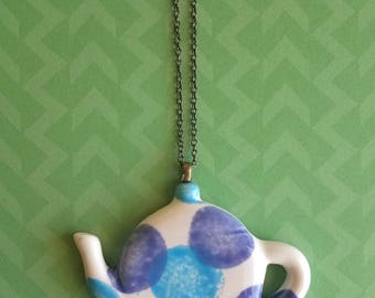 Polka Dot Tea Pot Necklace