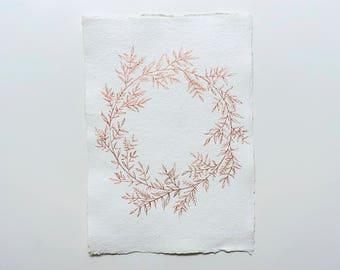 Copper wreath, original botanical art A4