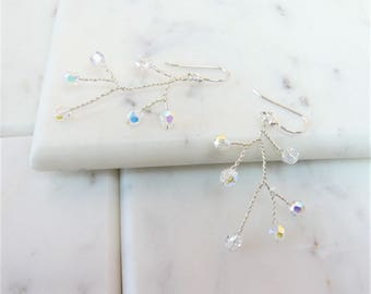Blooming Branches AB Swarovski Crystal And Sterling Silver Earrings