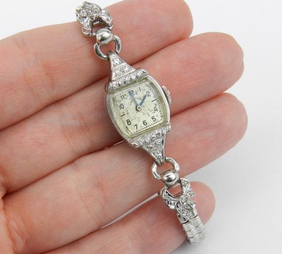 Antique Vintage Platinum Diamond LADY ELGIN Ladies Bracelet Watch