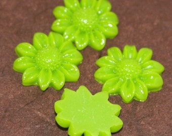4 pcs of Acrylic  Sun flower Cabochons - Lime Green -- 21mm