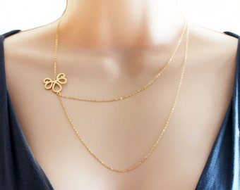 Gold Two Strand Layered Chain Necklace