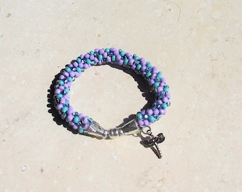 HandBeaded Bracelet with Dragonfly Charm fits 6 3/4 to 7 1/4 inch wrists
