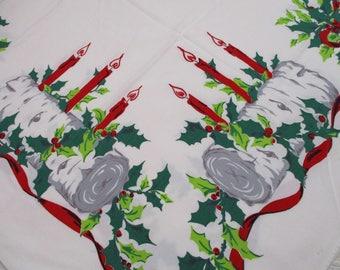 Vintage Simtex Yule Log Christmas Tablecloth