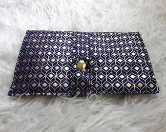 Navy blue fabric wallet and gold