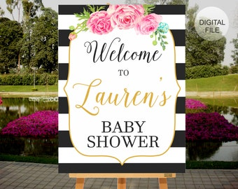 Welcome Baby Shower Sign, Baby Shower Decoration, Baby Shower Banner, Black & White Stripes Baby Shower, PRINTABLE SIGN, Welcome Sign, BS01