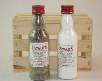 Dewar's White Label Salt and Pepper Shaker, Upcycled Mini Liquor Bottles