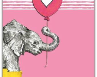 'The Elephant' birthday greeting card with envelope 12.5 cm x 17 cm