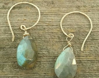 Labradorite flat faceted briolette earrings with 14kt gold filled wires