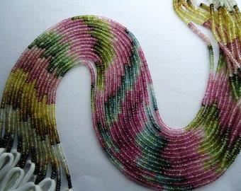 Multi Tourmaline Faceted Machine Cut Roundel Beads Size 2.50 To 2.70 mm String Lenth Is 13'' Inch Strand 1...