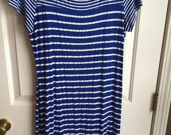 Blue & White Striped T-shirt Dress