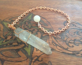 Copper wire wrapped natural raw double terminated Lemurian Quartz with copper chain and faceted agate terminus bead.