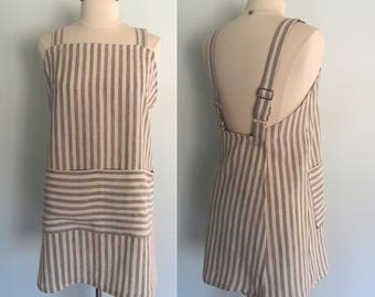 Gray Striped Linen Apron, Japanese Apron, Linen Garden Apron, Artist Apron, Pinafore, Flax Wrap Apron, Short or Long Length, Yarn Dyed Linen