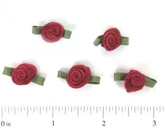 70 Small Azaela Red Satin Ribbon Roses Embellishment Flowers