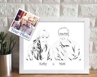 Custom Couples Portrait | Custom Portrait Illustration | 2 people Portrait | Personalized Gift | Family Drawing | Family Portrait