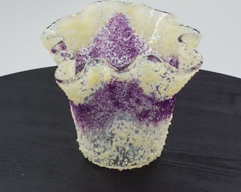 Votive candle holder in purple amethyst February birthstone
