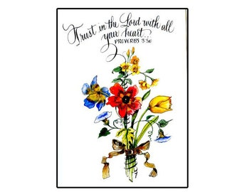 Handmade Christian Floral Greeting Card with calligraphy