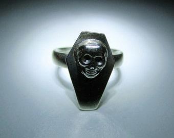 Sterling Silver Coffin & Skull Ring
