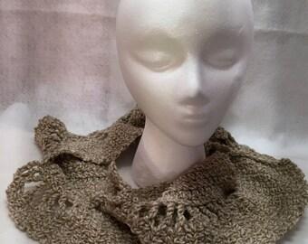 Scarf, Cowl, Mobius Scarf, Crochet Scarf, Infinity Scarf, Beige, Tan, Circle Scarf,  Wool Scarf, Triangle Scarf, Neutral Scarf,