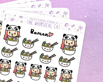 Ramen Planner Stickers, Ramen Stickers, Food Planner Stickers, Kawaii Ramen Stickers, Ramen Sticker