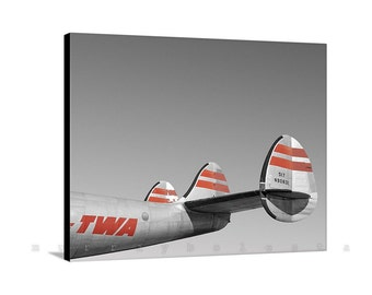 Vintage Airplane Art, TWA Airplane Photograph, Gift for Pilots, Vintage Aviation Art, Aircraft Picture, TWA Constellation, Aileron