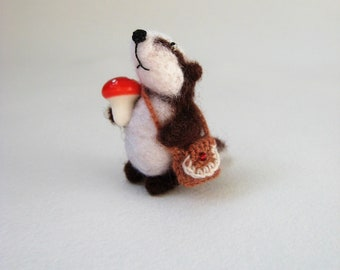 Needle Felted Badger. Felted Miniature. Badger With a Mushroom.