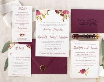 Marsala Wedding Invitation Burgundy Floral Invite Fall Wedding SAMPLE