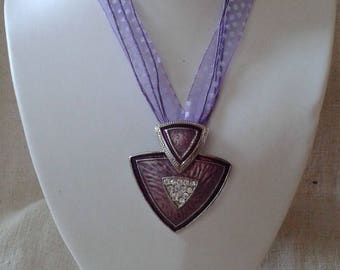 """""""Ribbon and purple triangles pendant"""" necklace"""