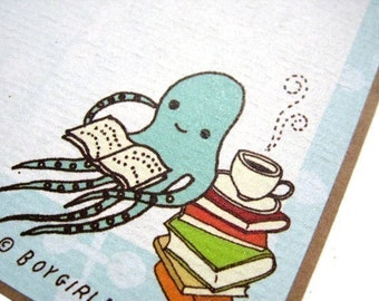 Unique BOOKPLATE labels - Squid Octopus  Book Stickers - From the Library Of - Bookish Gifts - Book Plate Stickers - Book Plates