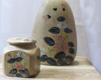 Earth Tones Pottery Set, Vase and Jar with Lid