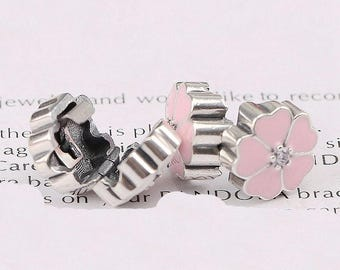 PINK Heart Flower Pedal Cz / STOPPER/SAFETY Clip Charm / New / Silver Infused Alloy