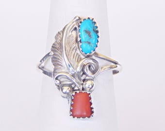 Vintage Sterling Silver Ring With Turquoise And Coral And Feather Design - Size 8.25-8.5
