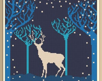Forest and Deer 2 Modern Cross Stitch Pattern PDF Chart Black Silhouette