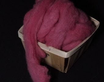 Hand-dyed wool roving for spinning,  felting or needle-felting RASPBERRY BERET
