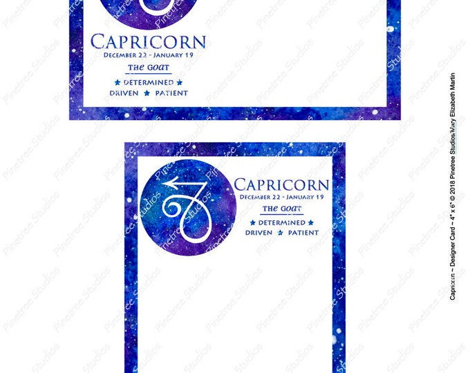 "Capricorn ~ Zodiac Sign Postcards (4"" x 6"" Landscape and Portrait) Digital Download ~ Printable / Journal Label / Card / E-Card / Ephemera"