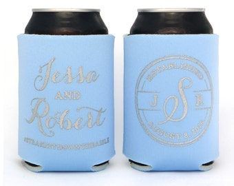 Monogram Wedding, Elegant Wedding Favor, Wedding Monogram, Wedding Favors, Custom Can Coolers, Formal Wedding Favors, Personalized Wedding