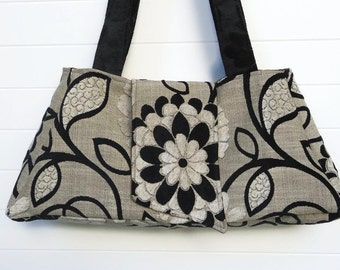 Boho Gypsy Bag Purse Black and White Cut Chenille